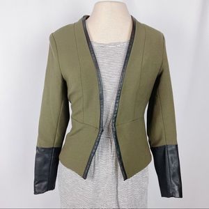 H&M Green Blazer with Vegan Leather accents